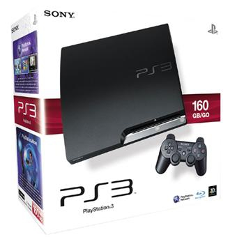 console playstation 3 slim 160 go en bo te ps3 argus jeux vid o d. Black Bedroom Furniture Sets. Home Design Ideas